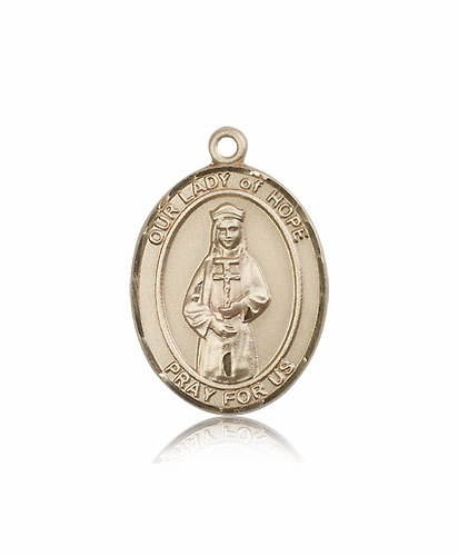 Our Lady of Hope 14kt Gold Patroness Saint Medal Necklace by Bliss