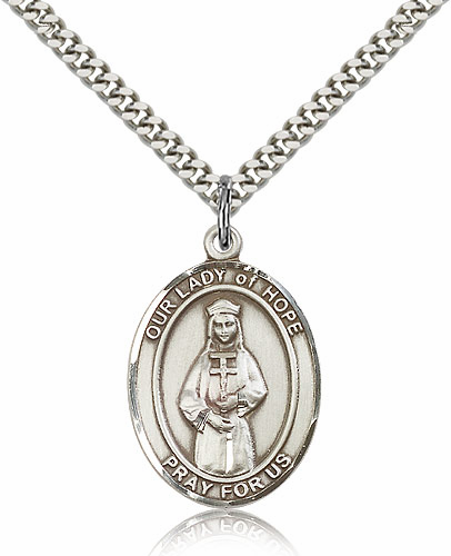 Our Lady of Hope Sterling Silver Patroness Saint Medal Necklace by Bliss