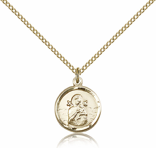 Our Lady of La Salette Round Gold Filled Pendant Necklace by Bliss Manufacturing