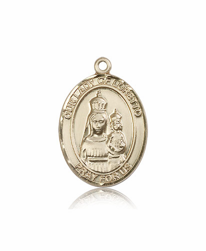 Our Lady of Loretto 14kt Gold  Patroness Saint Medal Necklace by Bliss
