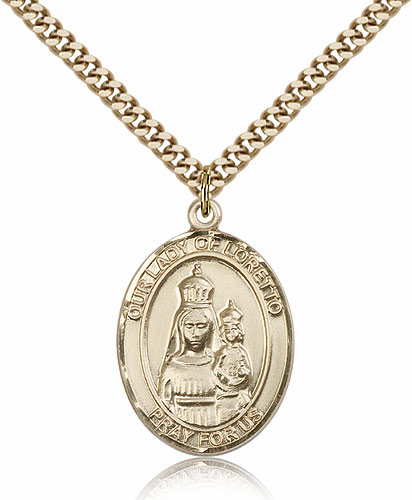 Our Lady of Loretto Gold Filled Patroness Saint Medal Necklace by Bliss