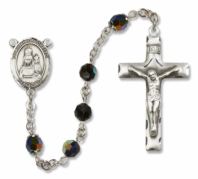 Our Lady of Loretto Jet Black Swarovski Sterling Silver Prayer Rosary by Bliss