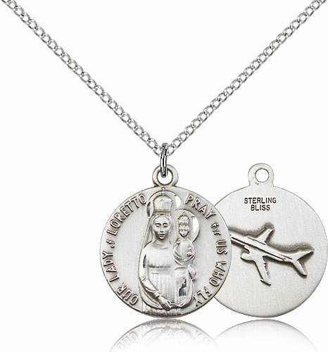 Our Lady of Loretto Sterling Silver Medal Necklace with Airplane by Bliss