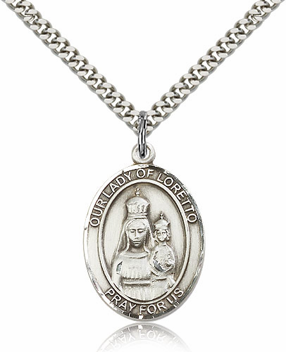Our Lady of Loretto Sterling Silver Patroness Saint Medal Necklace by Bliss
