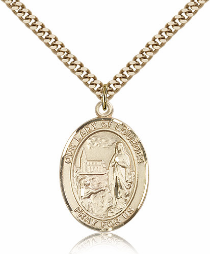 Our Lady of Lourdes Gold Filled Patroness Saint Medal Necklace by Bliss