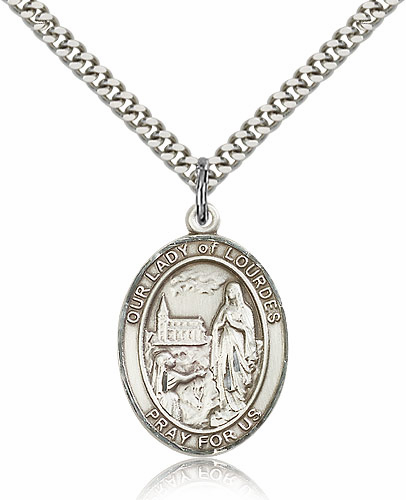 Our Lady of Lourdes Sterling Silver Patroness Saint Medal Necklace by Bliss