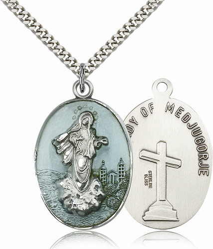 Our Lady of Medjugorje Blue Sterling Silver Necklace by Bliss Manufacturing