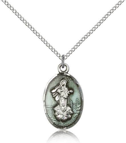 Our Lady of Medugorje Blue Sterling Silver Pendant Necklace by Bliss Manufacturing