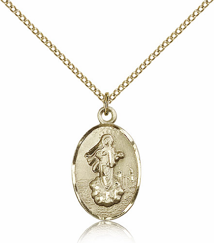 Our Lady of Medugorje Oval 14kt Gold-Filled Pendant Necklace by Bliss Manufacturing