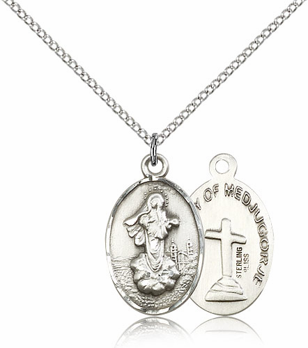 Our Lady of Medugorje Oval Sterling Silver-Filled Pendant Necklace by Bliss