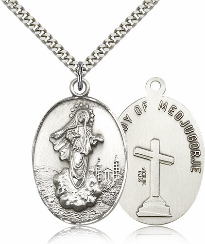 Our Lady of Medugorje Sterling Silver Pendant Necklace by Bliss Manufacturing