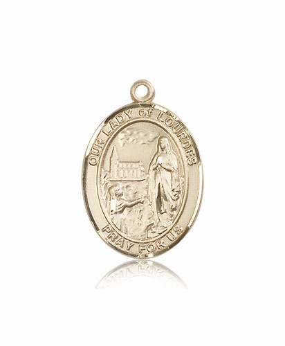 Our Lady of of Lourdes 14kt Gold Patroness Saint Medal Necklace by Bliss