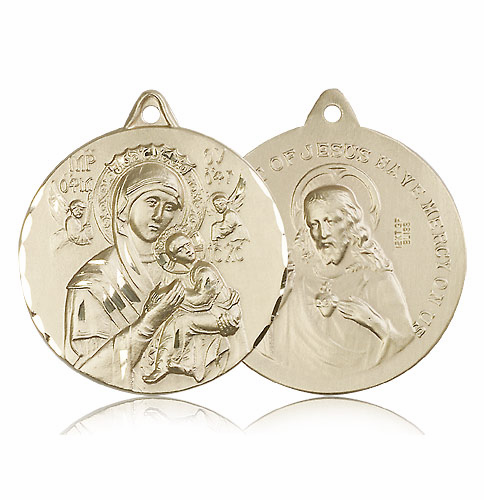 Our Lady of Perpetual Help and Sacred Heart Jesus 14kt Gold Necklace by Bliss