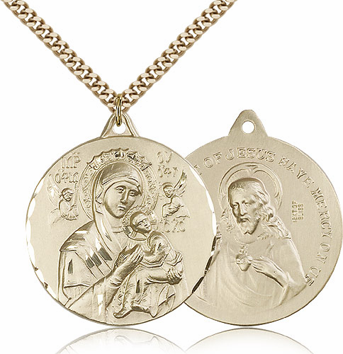 Our Lady of Perpetual Help and Sacred Heart Jesus Gold Filled Necklace by Bliss