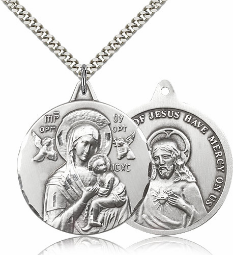 Our Lady of Perpetual Help and Sacred Heart Jesus Sterling Necklace by Bliss