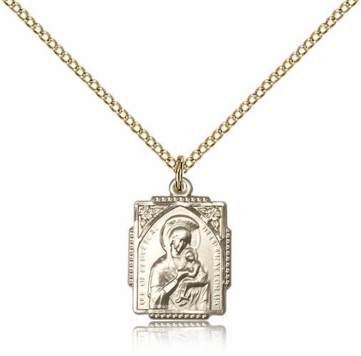 Our Lady of Perpetual Help Framed Ornate 14kt Gold-filled Necklace by Bliss