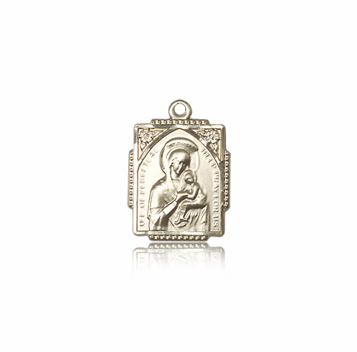 Our Lady of Perpetual Help Framed Ornate 14kt Gold Necklace by Bliss Manufacturing
