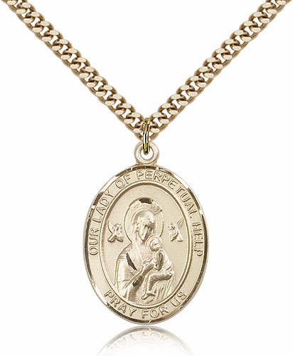 Our Lady of Perpetual Help Gold-filled Patroness Saint Medal Necklace by Bliss