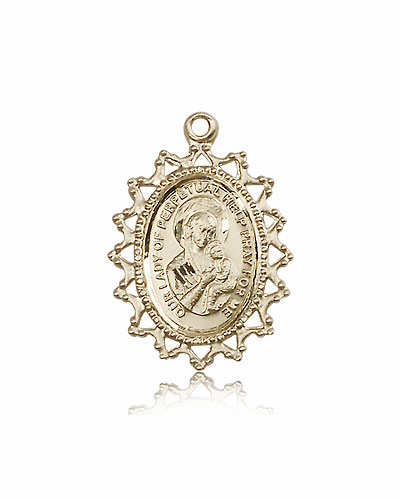 Our Lady of Perpetual Help Ornate Filigree Pendant 14kt Gold Medal Necklace