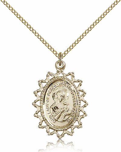 Our Lady of Perpetual Help Ornate Filigree Pendant Gold Filled Necklace by Bliss