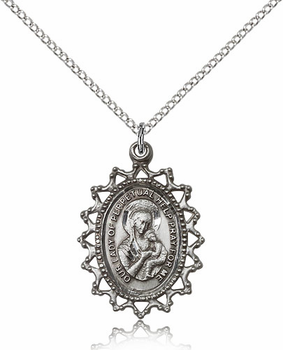 Our Lady of Perpetual Help Ornate Filigree Sterling Silver Pendant Necklace by Bliss