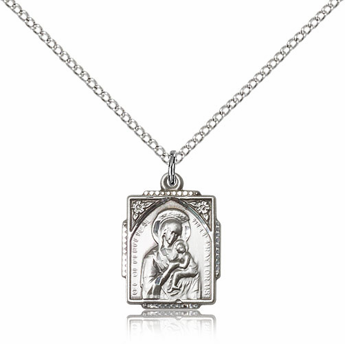 Our Lady of Perpetual Help Sterling Silver Framed Ornate Necklace by Bliss