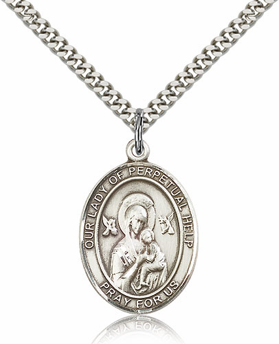 Our Lady of Perpetual Help Sterling Silver Patroness Saint Medal Necklace by Bliss