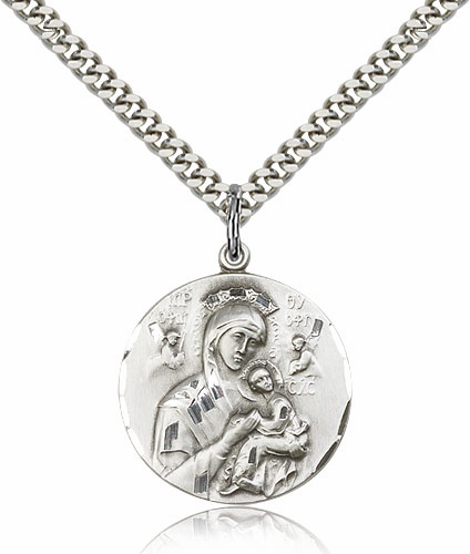 Our Lady of Perpetual Help Sterling Silver Saint Pendant Necklace by Bliss