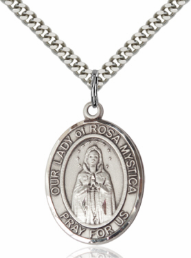 Our Lady of Rosa Mystica Sterling Silver Patroness Saint Medal Necklace by Bliss