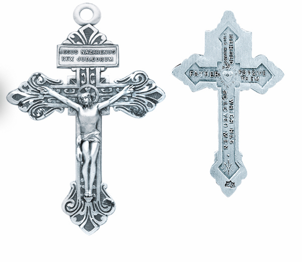 Pardon Crucifix Cross Sterling Silver Pendant Necklace by HMH Religious