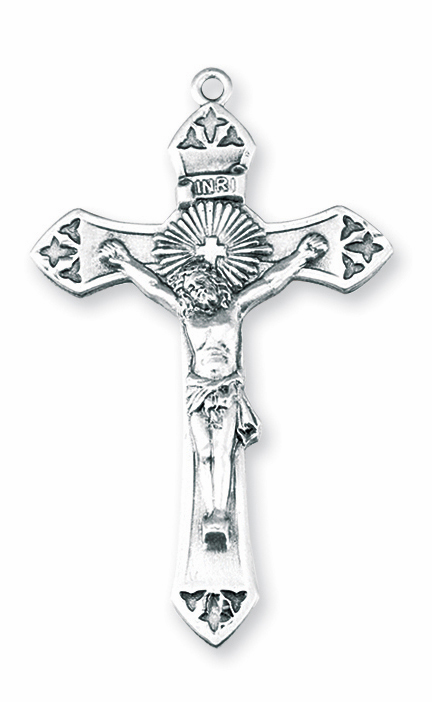 Radiant with Cross Sterling Silver Crucifix Necklace by HMH Religious