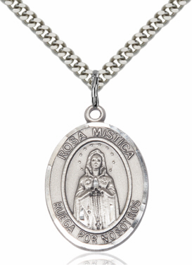 Rosa Mistica/Our Lady of Rosa Mystica Silver-filled Patron Saint Necklace with Chain by Bliss