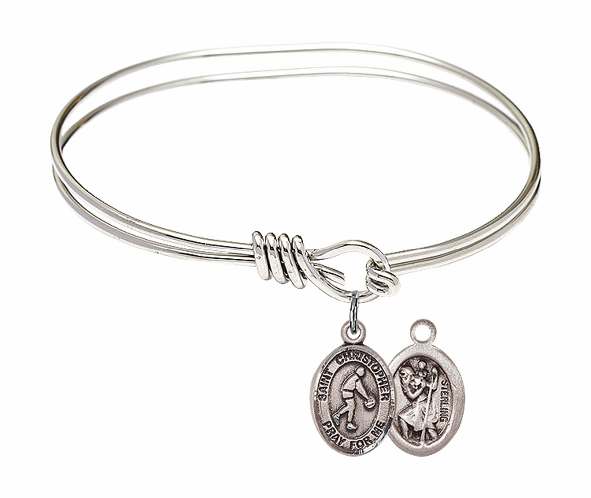Round Eye Hook St Christopher Basketball Bangle Charm Bracelet by Bliss