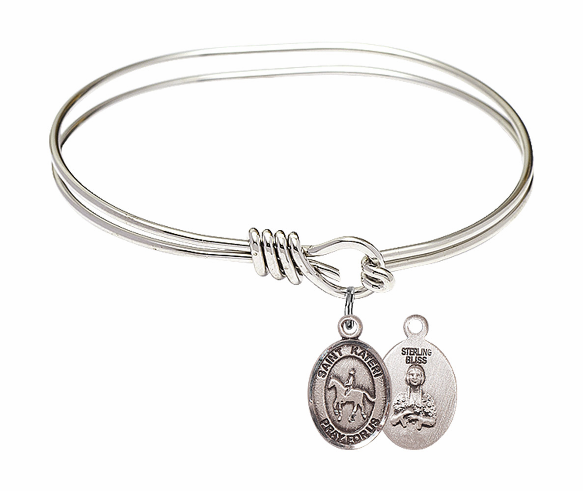 Round Eye Hook St Kateri Tekakwitha Equestrian Bangle Charm Bracelet by Bliss