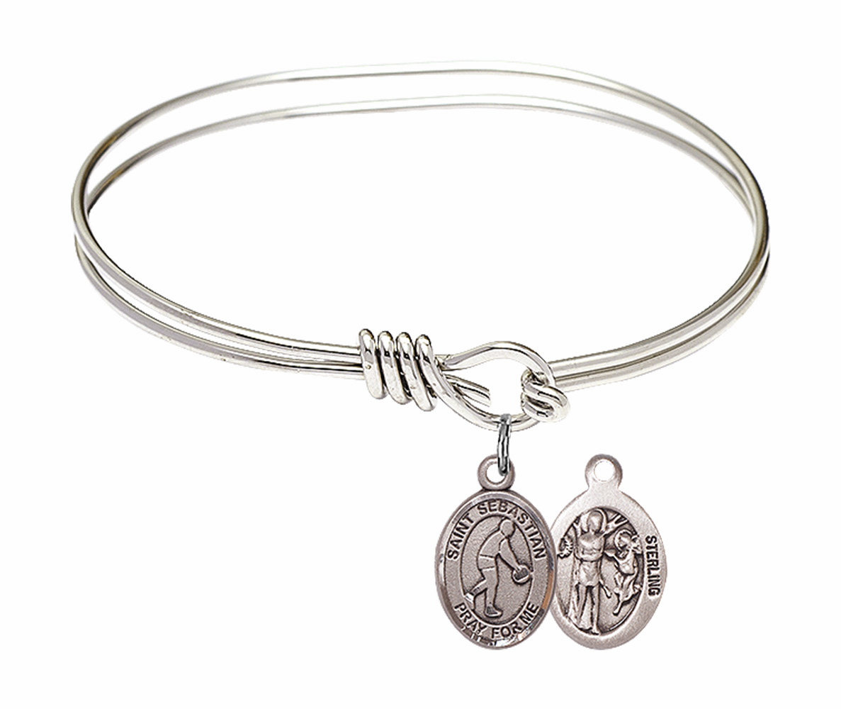 Round Eye Hook St Sebastian Basketball Bangle Charm Bracelet by Bliss
