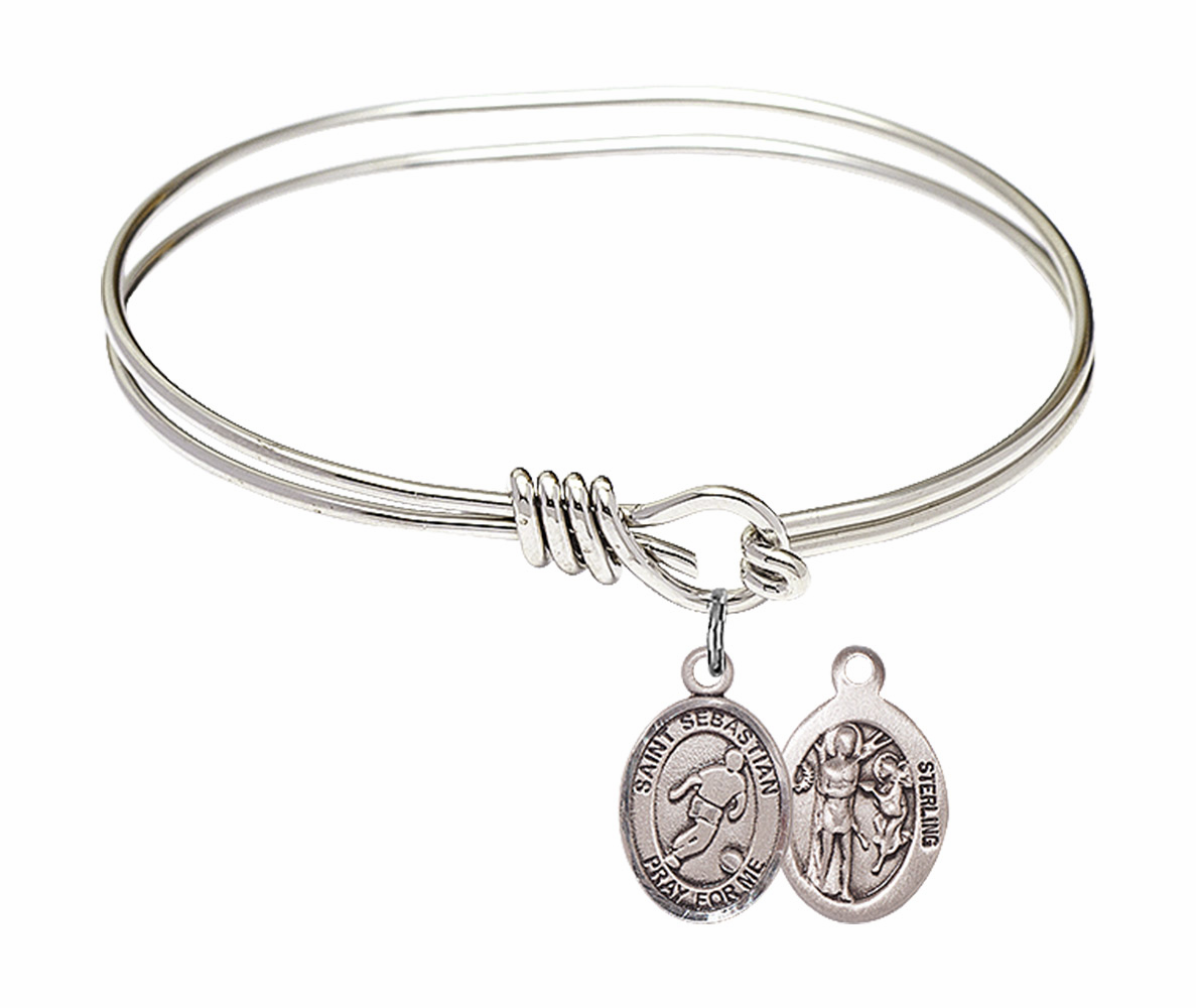 Round Eye Hook St Sebastian Soccer Bangle Charm Bracelet by Bliss