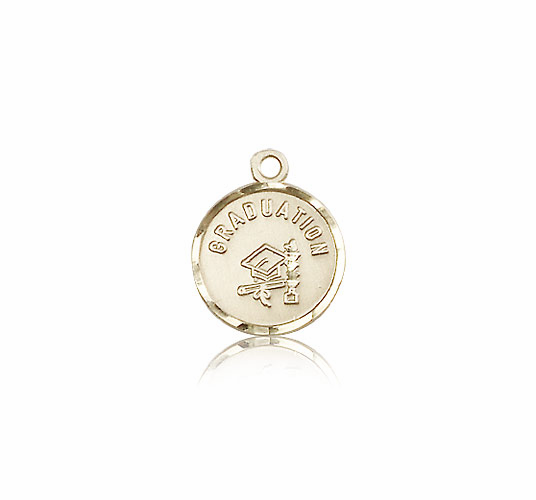 Round Gradution Hat And Diploma 14kt Gold Medal Pendant by Bliss Manufacturing