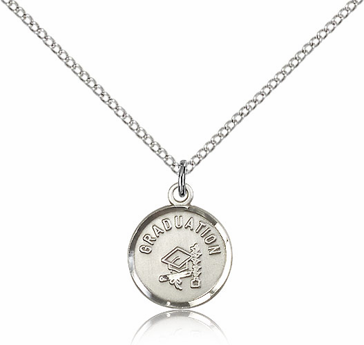 Round Gradution Hat And Diploma Sterling Silver Pendant w/Chain by Bliss