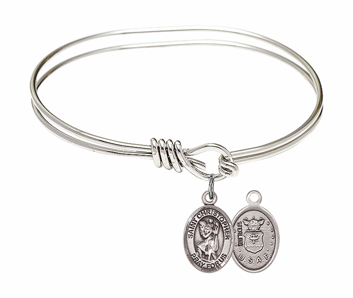 Round Loop St Christopher Air Force Bangle Sterling Silver Charm  Bracelet by Bliss