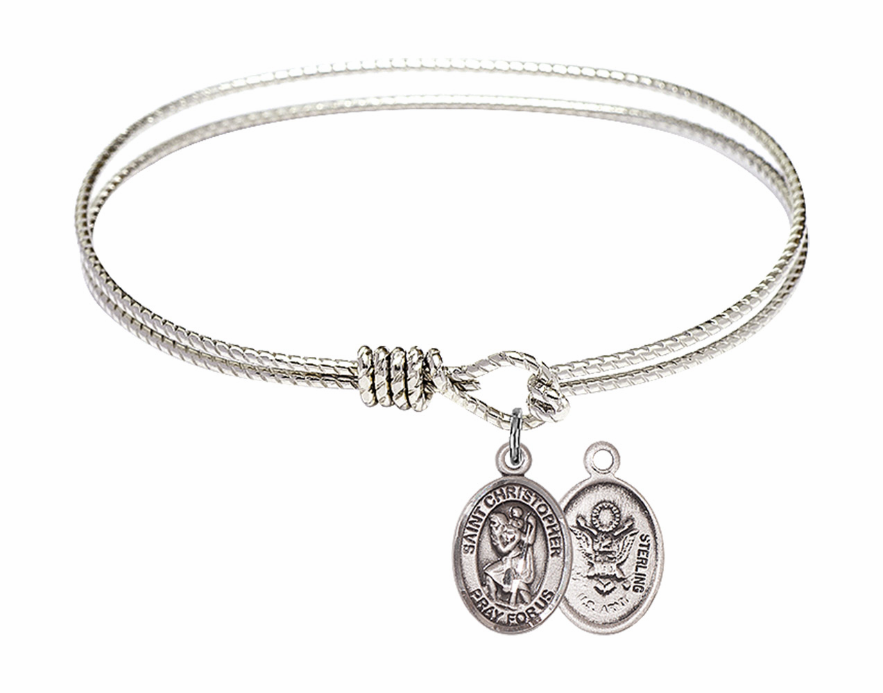 Round Loop St Christopher Army Bangle Sterling Silver Charm  Bracelet by Bliss