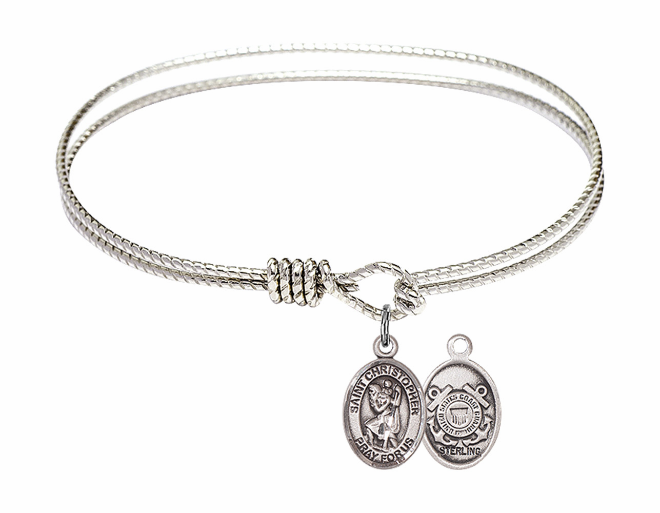 Round Loop St Christopher Coast Guard Bangle Sterling Silver Charm  Bracelet by Bliss
