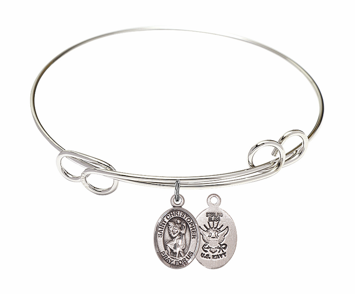 Round Loop St Christopher Navy Bangle Charm Bracelet by Bliss
