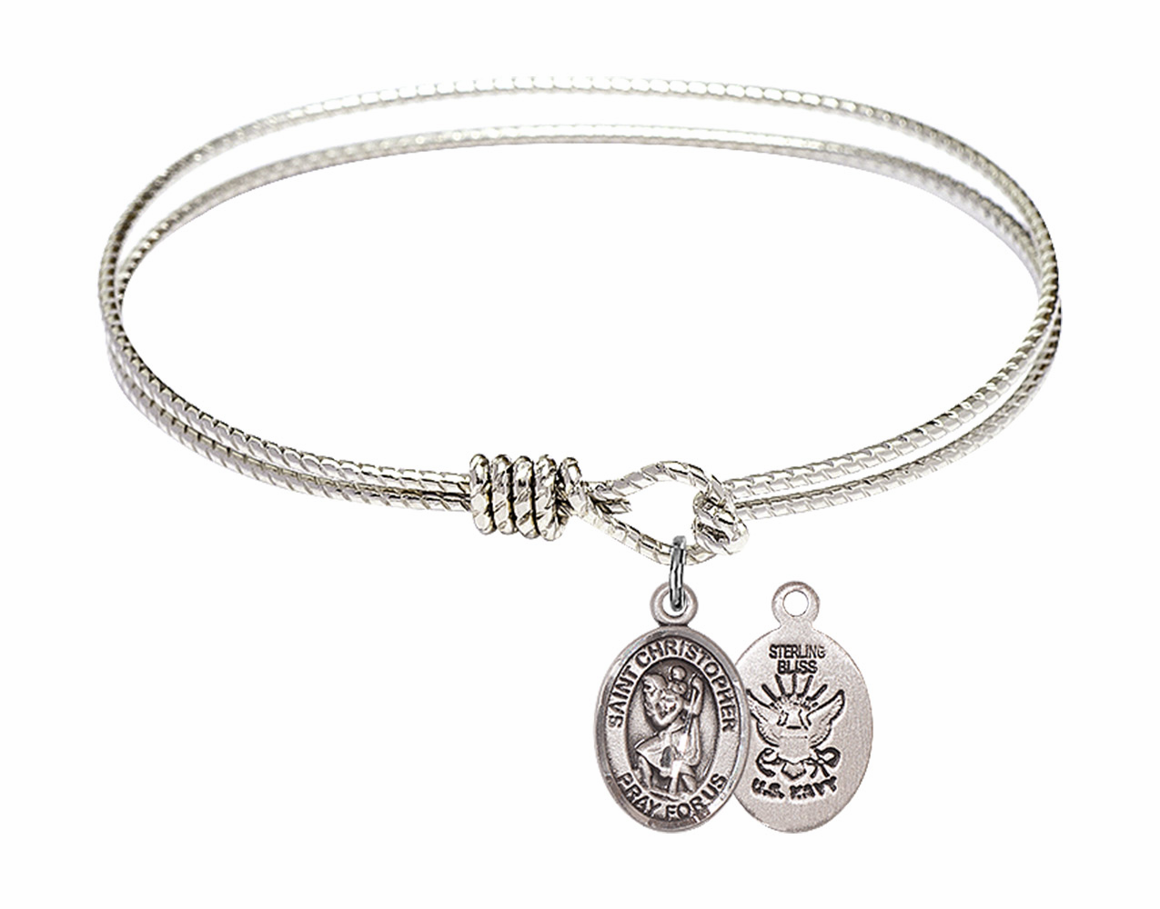 Round Loop St Christopher Navy Bangle Sterling Silver Charm  Bracelet by Bliss
