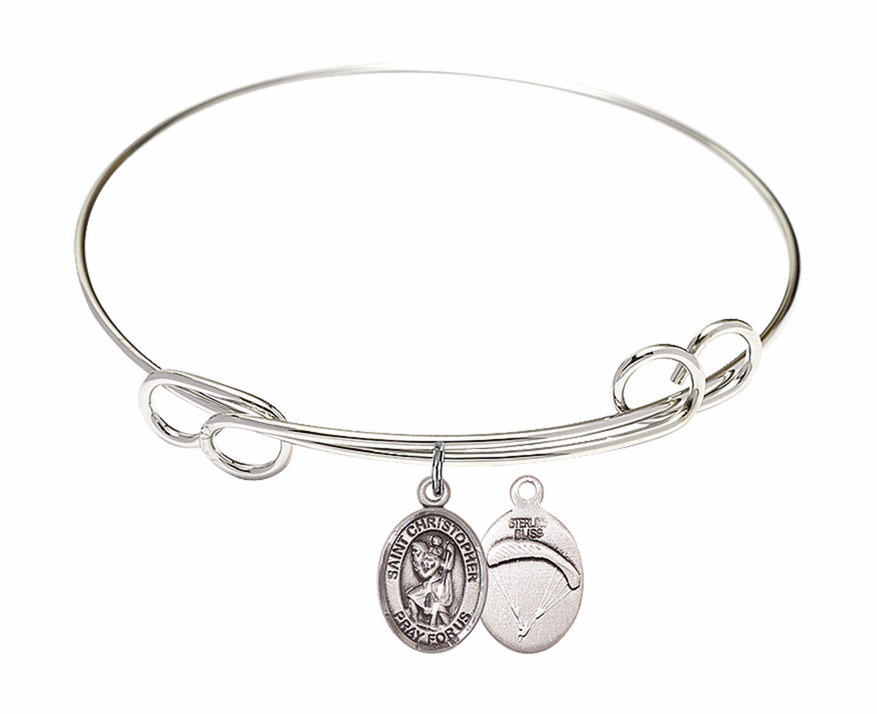 Round Loop St Christopher Paratrooper Bangle Charm Bracelet by Bliss