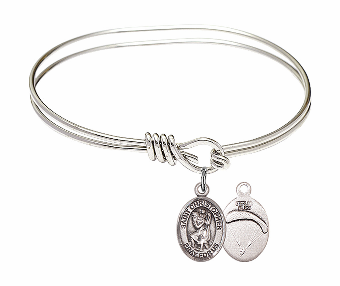 Round Loop St Christopher Paratrooper Bangle Sterling Silver Charm  Bracelet by Bliss