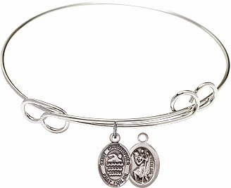 Round Loop St Christopher Swimming Bangle Charm Bracelet by Bliss