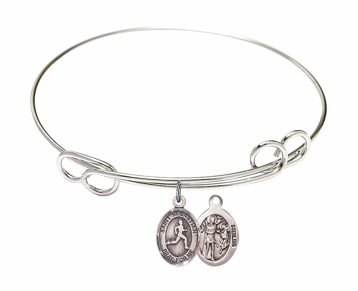 Round Loop St Sebastian Track and Field Bangle Charm Bracelet by Bliss