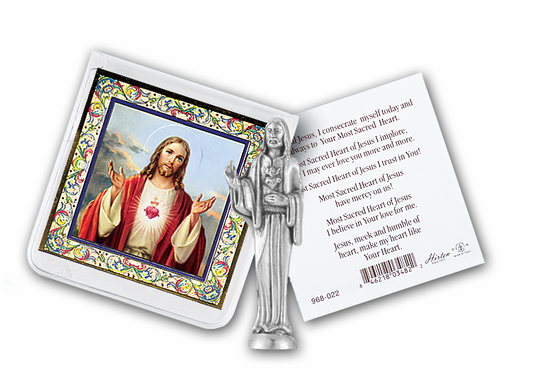 Sacred Heart of Jesus Catholic Pocket Statues with Prayer Card Sets by Hirten