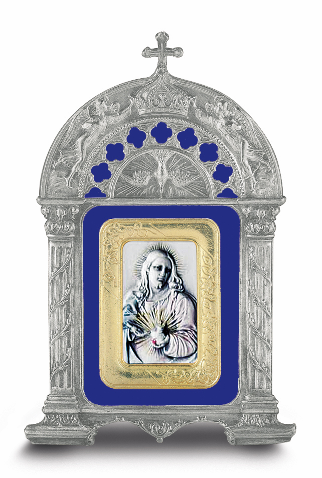 Sacred Heart of Jesus Salerni Sterling Image in Blue Enamel Pewter Frame