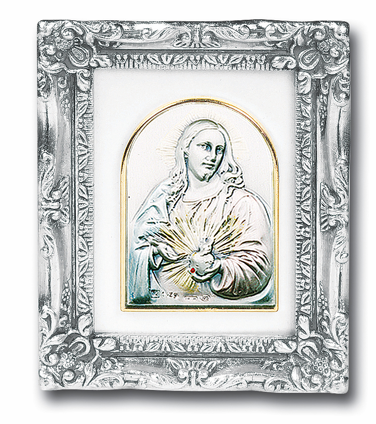 Sacred Heart of Jesus Sterling Image with Antique Silver Framed Picture by Salerni Collection
